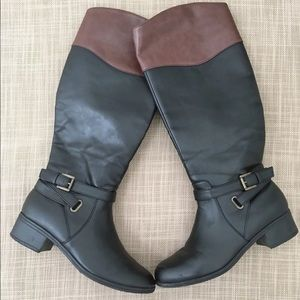 Rampage Women's Color Block Riding Boots Size 7.5